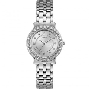 Guess Women's Blush Swarovski Crystals Silver Dial Stainless-Steel Bracelet Watch W1062L1
