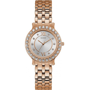 Guess Women's Blush Swarovski Crystals Silver Dial Rose Gold Stainless-Steel Bracelet Watch W1062L3