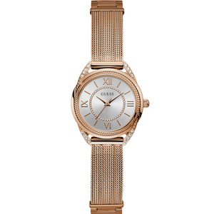 Guess Women's Whisper Crystals Silver Dial Rose Gold Mesh Bracelet Watch W1084L3
