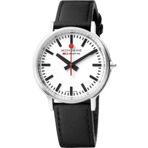 Mondaine Stop-2-Go BackLight White Dial Leather Strap Watch MST.4101B.LB