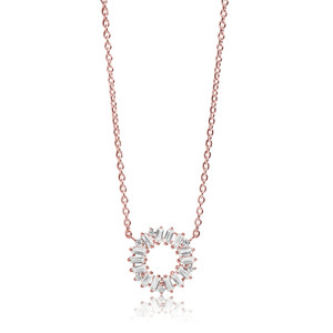 Sif Jakobs Antella Circolo 18k Rose Gold Plated Cubic Zirconia Necklace SJ-C0162-CZ(RG
