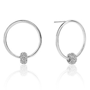 Sif Jakobs Lariano Silver Cubic Zirconia Circle Stud Hoop Earrings SJ-E0303-CZ