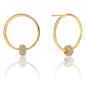 Sif Jakobs Lariano 18k Yellow Gold Plated Cubic Zirconia Hoop Stud Earrings SJ-E0303-CZ(YG)