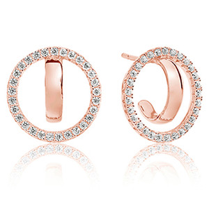Sif Jakobs Ozieri Due 18k Rose Gold Plated Cubic Zirconia Circle Stud Earrings SJ-E0317-CZ(RG)