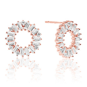 Sif Jakobs Antella Circolo 18k Rose Gold Plated Cubic Zirconia Circle Stud Earrings SJ-E0324-CZ(RG)