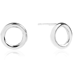 Sif Jakobs Valenza Pianura Uno Silver Hoop Circle Stud Earrings SJ-E0328