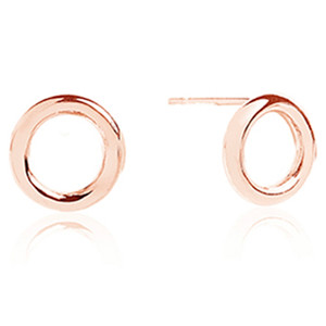 Sif Jakobs Valenza Pianura Uno 18k Rose Gold Plated Hoop Circle Stud Earrings SJ-E0328(RG)