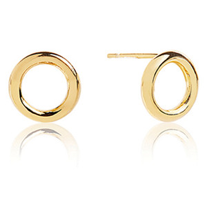 Sif Jakobs Valenza Pianura Uno 18k Yellow Gold Plated Hoop Circle Stud Earrings SJ-E0328(YG)