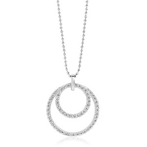Sif Jakobs Valenza Due Silver Cubic Zirconia Double Cirlce Necklace SJ-P0055-CZ/70