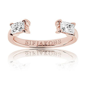 Sif Jakobs Antella Baguette Piccolo 18k Rose Gold Plated Cubic Zirconia Bag Cut Ring SJ-R011-CZ(RG)/56