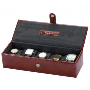 Mele & Co Brown Leather Watch Box For Men Fits 5 Watches 1558