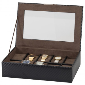 Mele & Co Carbon Effect Bonded Leather Glass Top Watch Box Fits 10 Watches 1562