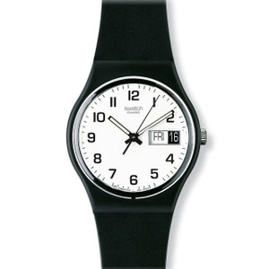Swatch Once Again Day Date Black Strap White Dial Watch GB743