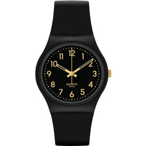 Swatch Golden Tac Unisex Quartz Black Dial Silicone Strap Watch GB274