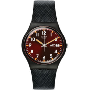 Swatch Sir Red Unisex Quartz Day Date Red Dial Silicone Strap Watch GB753