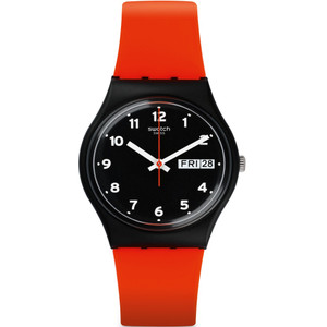 Swatch Red Grin Unisex Quartz Day Date Black Dial Silicone Strap Watch GB754