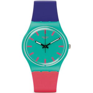 Swatch Shunbukin Unisex Quartz Green Dial Silicone Strap Watch GG215