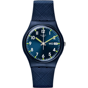 Swatch Sir Blue Unisex Quartz Day Date Blue Dial Silicone Strap Watch GN718
