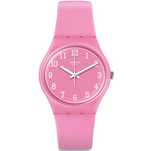 Swatch Pinkway Ladies Quartz Pink Dial Silicone Strap Watch GP156