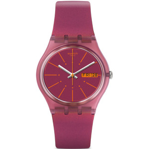 Swatch Sneaky Peaky Unisex Quartz Day Date Purple Dial Silicone Strap Watch GP701