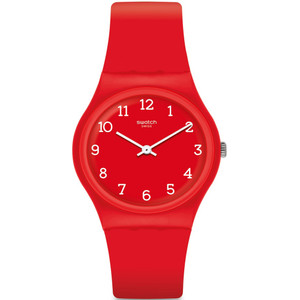Swatch Sunetty Unisex Quartz Red Dial Silicone Strap Watch GR175