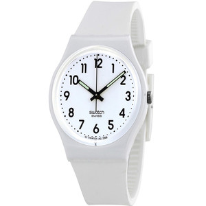 Swatch Just White Soft Unisex Quartz White Dial Silicone Strap Watch GW151O