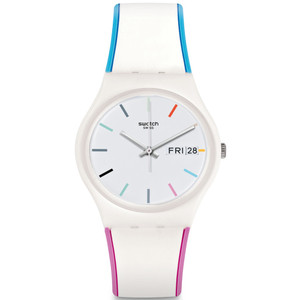Swatch Edgyline Unisex Quartz Day Date White Dial Silicone Strap Watch GW708