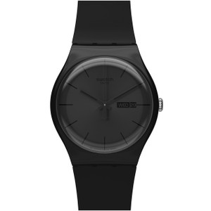 Swatch Black Rebel Men's Day Date Quartz Black Dial Silicone Strap Watch SUOB702