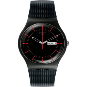 Swatch Gaet Men's Day Date Quartz Black Dial Silicone Strap Watch SUOB714