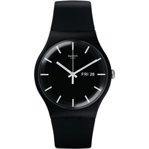 Swatch Mono Black Men's Day Date Quartz Black Dial Silicone Strap Watch SUOB720
