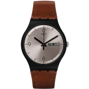 Swatch Lonely Desert Unisex Day Date Quartz Silver Dial Leather Strap Watch SUOB721