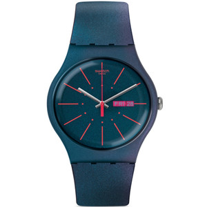 Swatch New Gentleman Men's Day Date Quartz Blue Dial Silicone Strap Watch SUON708