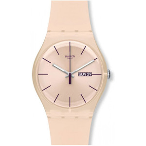 Swatch Rose Rebel Unisex Day Date Quartz Peach Rose Dial Silicone Strap Watch SUOT700