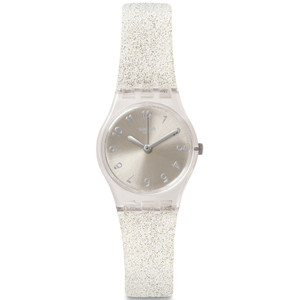 Swatch Silver Glistar Too Women's Quartz Silver Dial Silicone Strap Watch LK343E
