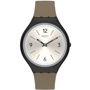 Swatch New Skin Skinsand Unisex Salmon Dial Leather Strap Watch SVUB101