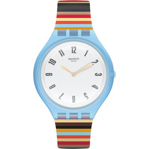 Swatch Skinstripes Unisex Quartz White Dial Silicone Strap Watch SVUL100