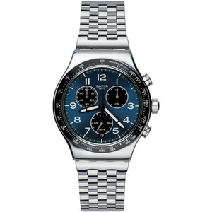 Swatch New Irony Chronograph Boxengasse Men's Date Quartz Blue Dial Bracelet Watch YVS423G