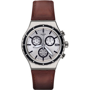 Swatch New Irony Chronograph Grandino Men's Date Quartz Silver Dial Leather Strap Watch YVS437