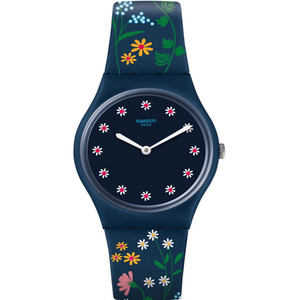 Swatch Brit-In Flower Carpet Women's Blue Dial Silicone Strap Watch GN256