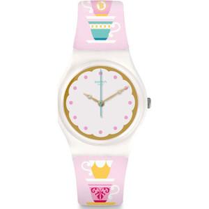 Swatch Brit-In High Tea Women's White Dial Silicone Strap Watch GW191