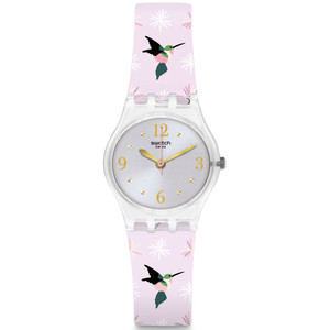 Swatch Brit-In Envole Moi Women's Quartz Silver Dial Silicone Strap Watch LK376