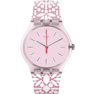Swatch Brit-In Fleurie Women's Quartz Pink Dial Silicone Strap Watch SUOP109