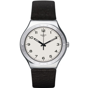 Swatch Big Will Unisex Quartz White Dial Leather Strap Watch YWS101