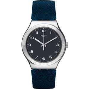 Swatch Inkwell Unisex Quartz Black Dial Rubber Strap Watch YWS102