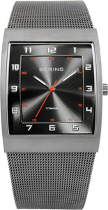 Bering Titainium Rectangle Mesh Mens Watch 11233-077