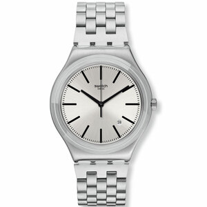 Swatch Irony Mon Quotidien Unisex Quartz Date Silver Dial Bracelet Watch YWS429G