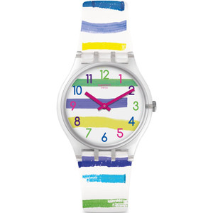Swatch Mediterranean Views Colorland Unisex Quartz White Dial Silicone Strap Watch GE254