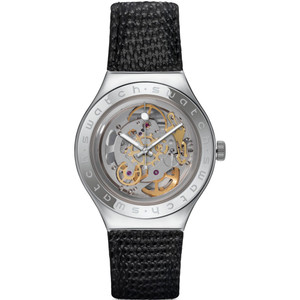 Swatch Irony Automatic Body & Soul Men's Silver Skeleton Dial Leather Strap Watch YAS100D