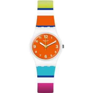 Swatch Mediterranean Views Colorino Women's Quartz Orange Dial Silicone Strap Watch LW158