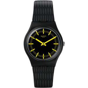 Swatch Vibe Giallonero Unisex Quartz Black Dial Silicone Strap Watch GB304